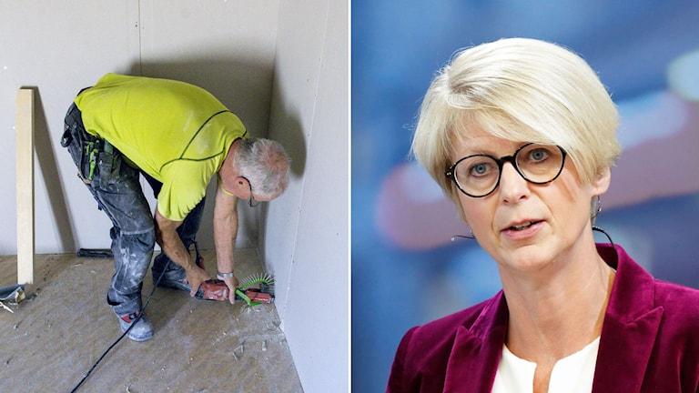 Äldre byggjobbare sätter upp gipsskivor. Moderaternas arbetsmarknadspolitiska talesperson Elisabeth Svantesson.