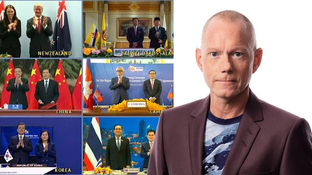 Några av undertecknarna av frihandelavtalet RCEP och Ekots utrikesreporter Peder Gustafsson