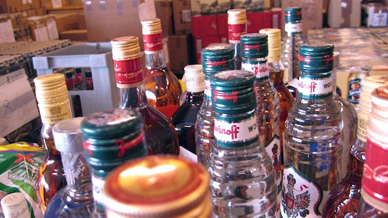 Tullens lager med beslagtagen alkohol. Foto: Elisabeth Cederblad/Sveriges Radio