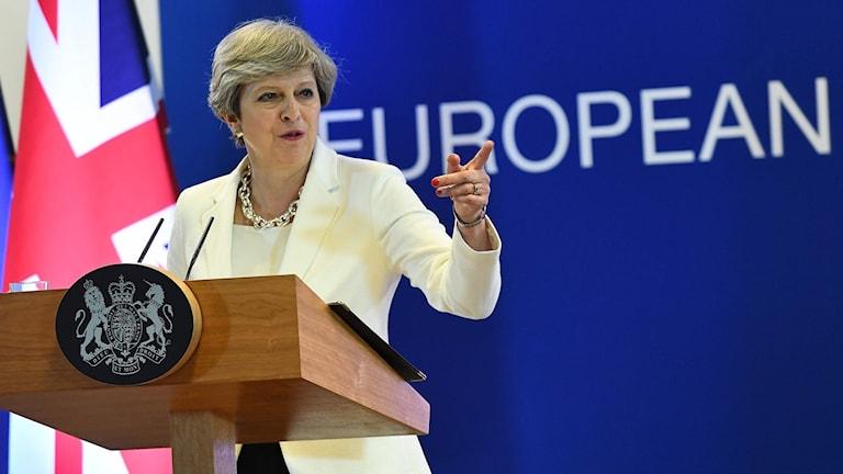 Theresa May på EU-toppmötet. Foto: Emmanuel Dunand/TT.