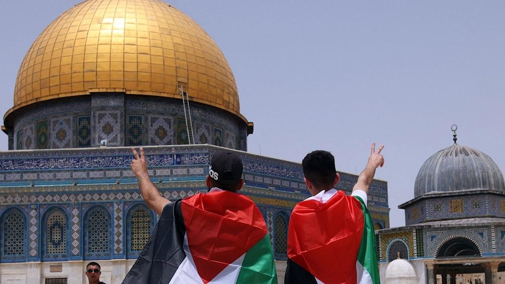 Två palestinska män insvepta i flaggor framför  al-Aqsa-mosken i Jerusalem efter vapenvilan den 21 maj