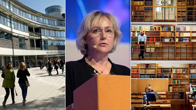 Tredelad bild: Södertörns högskola, kvinna i en talarstol och ett universitetsbibliotek.