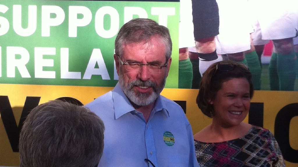 Sinn Feins ledare Gerry Adams (arkivbild). Foto: Patrik Holmström/Sveriges Radio.