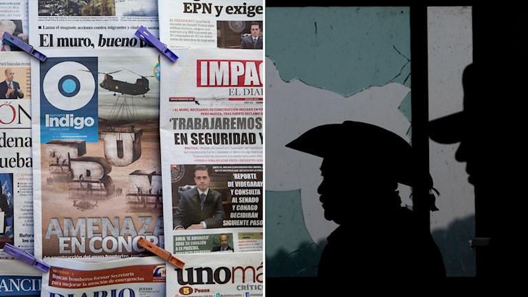Bildmontage med mexikanska tidningar och onda kartellmedlemmar.