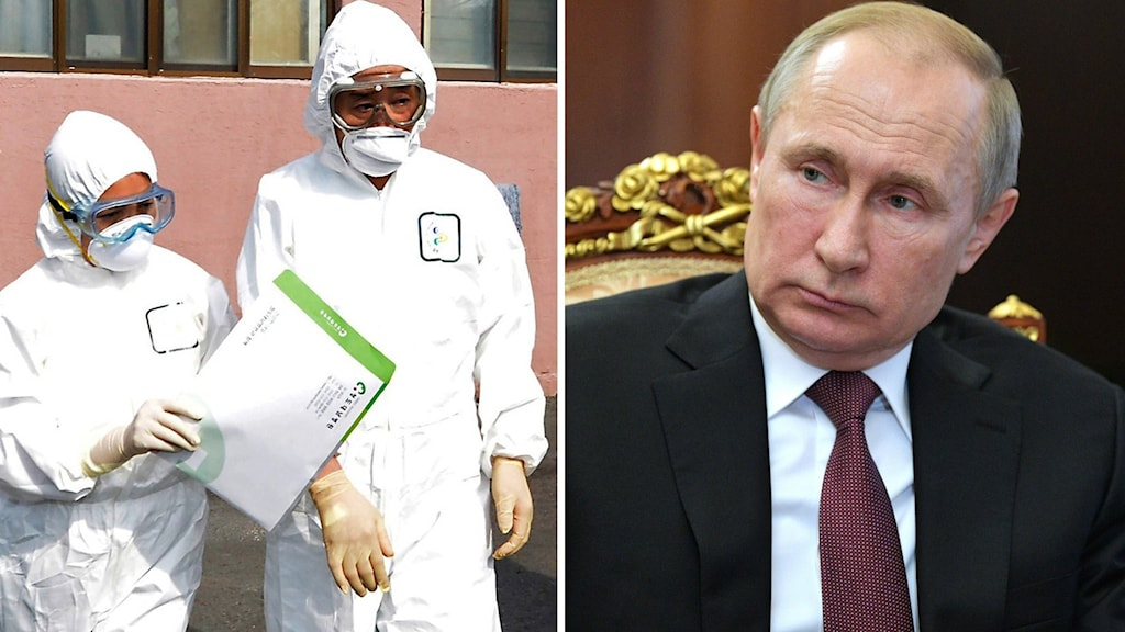 En ekonomisk kris på grund av viruset kan få politiska konsekvenser för president Putin. Foto: Lee Moo-ryul/Alexej Druzhinin/TT. Montage: Sveriges Radio.