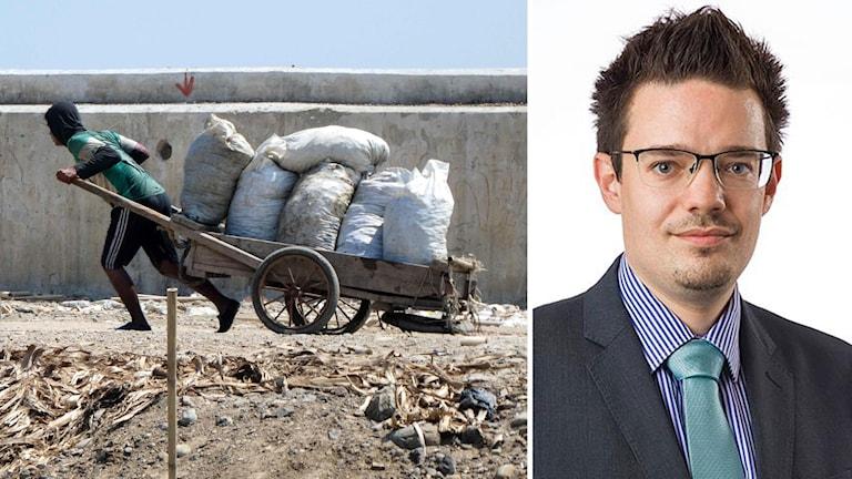 Till vänster: En man drar en vagn med nylon i Jakarta. Till höger: Ben Bland, expert på Indonesien vid tankesmedjan Lowy Institute i Sydney.