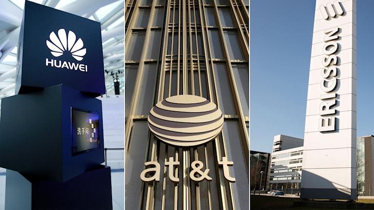 Tredelad bild: Huawai-logga, AT&T-logga och Ericsson-logga.