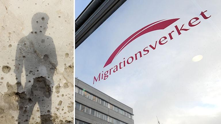 Migrationsverkets skylt. Till vänster en skuggbild av en ung man. Foto: Scanpix