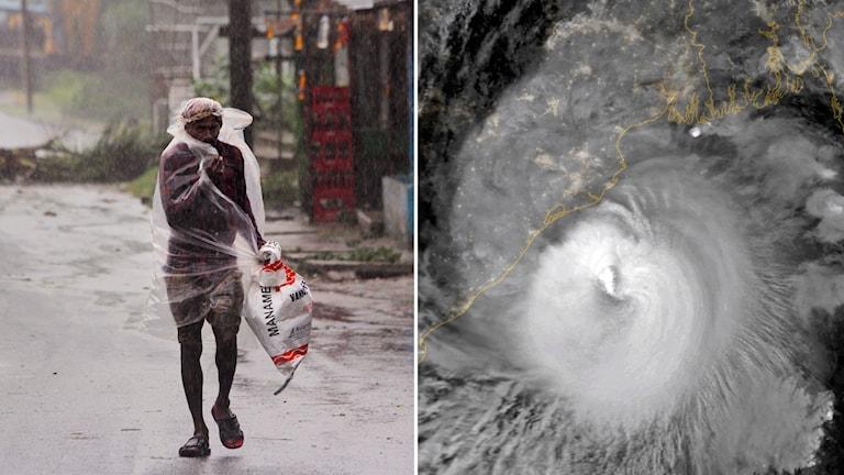 Man som står i storm i Bangladesh och satellitbild över cyklonen Amphan