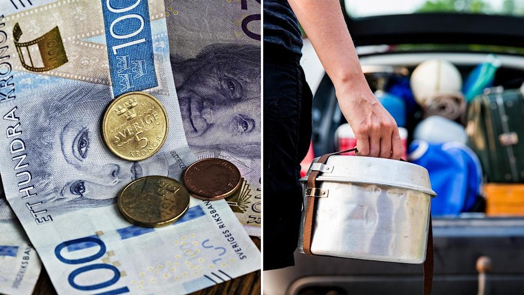 Delad bild. Bild på svensk valuta. Och en fullpackad bil.