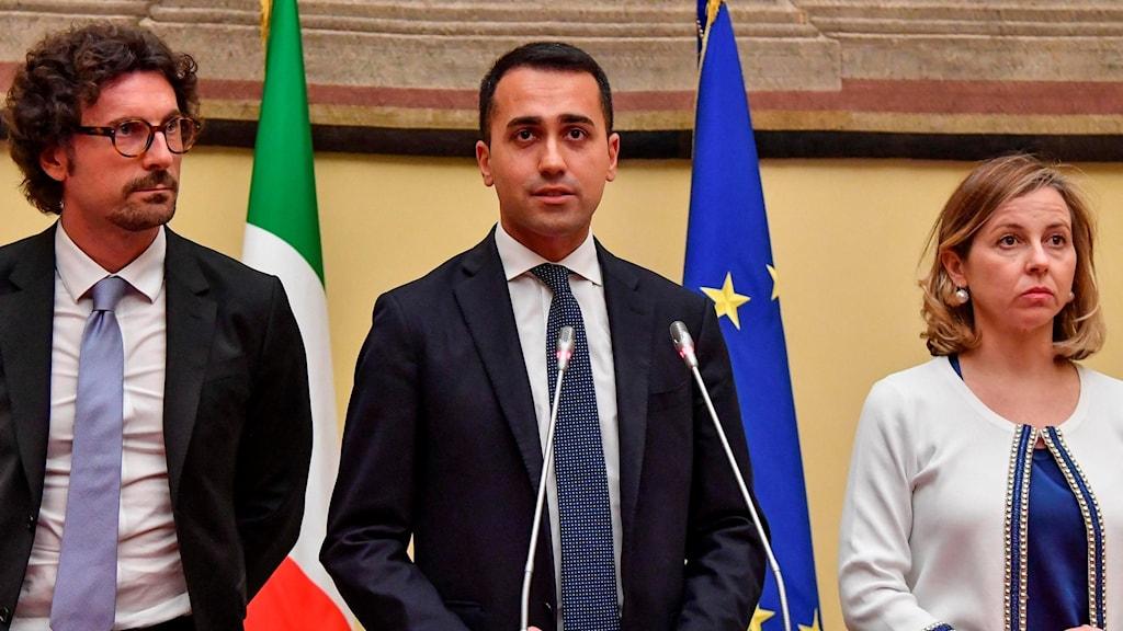 Antietablissemangspartiet Femstjärnerörelsens partiledare Luigi Di Maio.