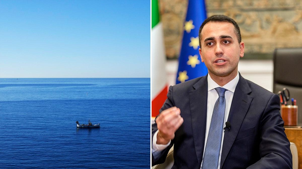 Italiens utrikesminister och en båt på medelhavet