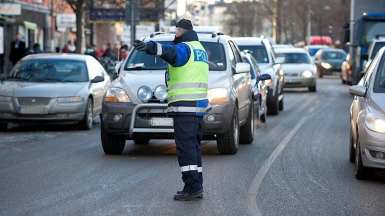 Trafikpolis har kontroll i centrala Stockholm.