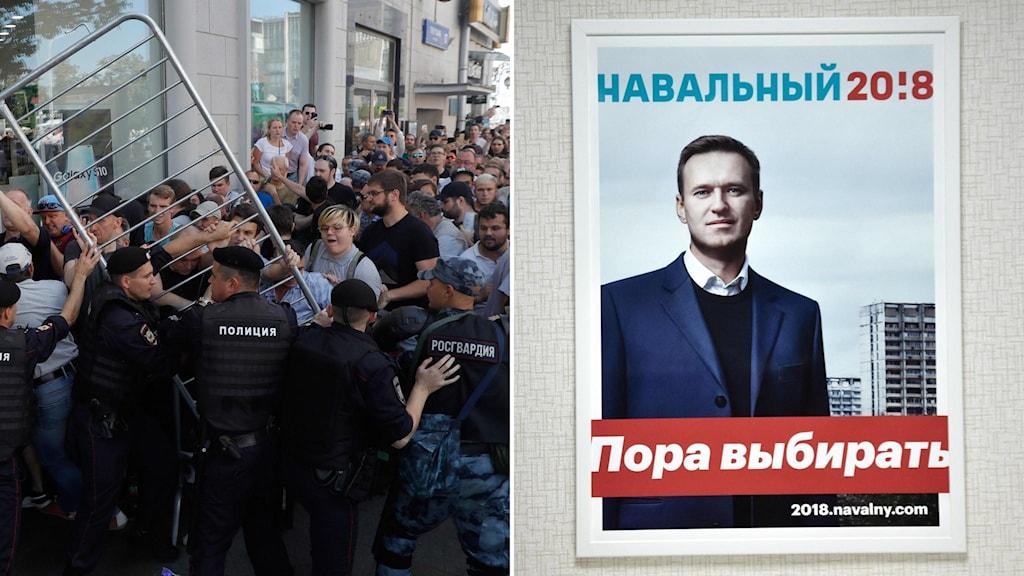 Poliser och demonstranter drabbar samman under lördagens protester (t.v).  Aleksej Navalnyj (t.h) dömdes för att ha uppmanat till demonstrationerna, här en bild på hans valaffisch inför förra årets val, ett val som han inte tilläts ställa upp i.