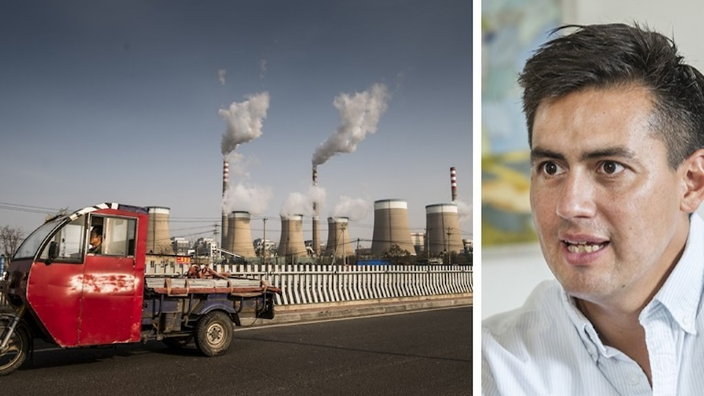 Bild på kolkraftverk i Kina och Victor Galaz.