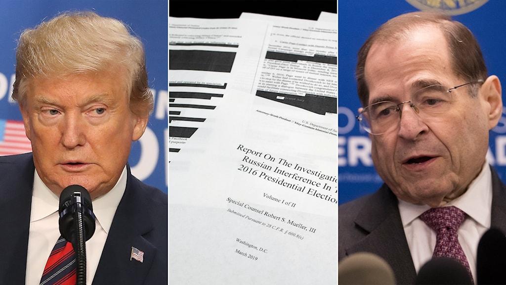 Tredelad bild: president, maskad rapport och demokrat med glasögon.