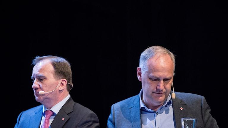 Stefan Löfven och vänsterpartiets partiledare Jonas Sjöstedt.