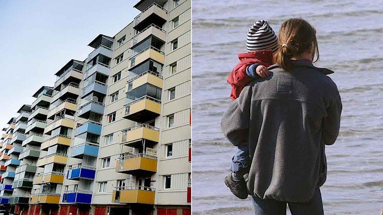 En stor del bostadslösa är unga småbarnsföräldrar som saknar yrkesutbildning och eget hem. Foto: Bildmontage/Sverigesradio.