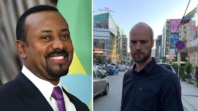Kollage av 2019 års mottagare av Nobels fredspris, Abiy Ahmed, och Ekots korrespondent Samuel Larsson i Addis Abeba.