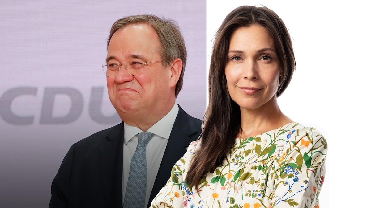 Splittbild med Armin Laschet tyska CDU:s nya ledare och caroline Salzinger, Sveriges Radios korrespondent i Berlin