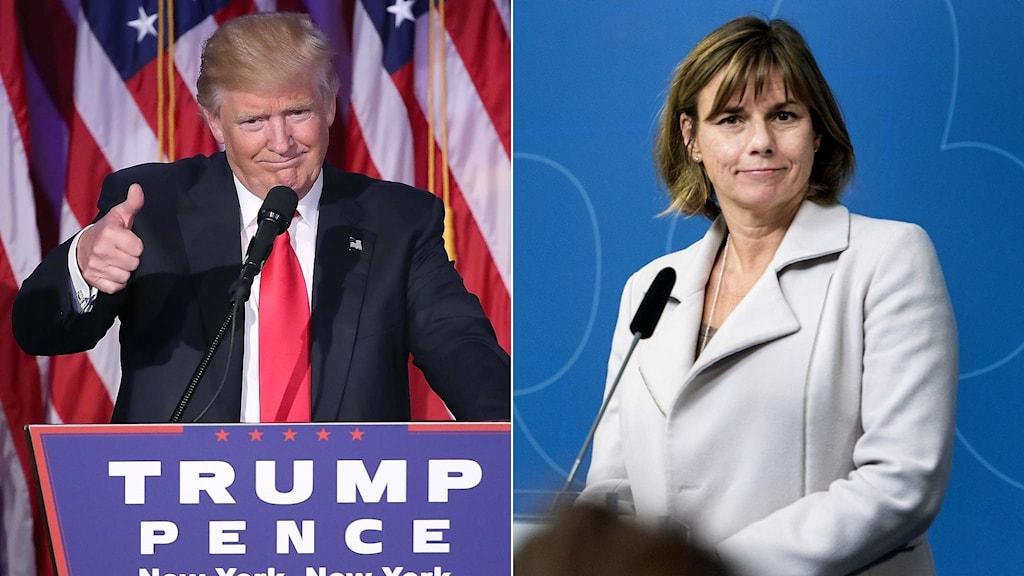 USA:s blivande president Donald Trump och Sveriges klimatminister Isabella Lövin.