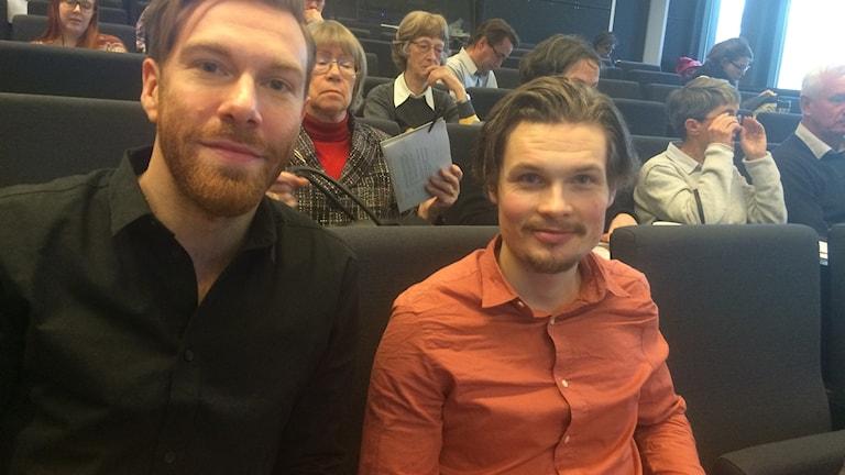 Marcus Klasson och Niklas Neuman var två som föreläste om män och mat i Lund. Foto: Odd Clausen/Sveriges Radio.