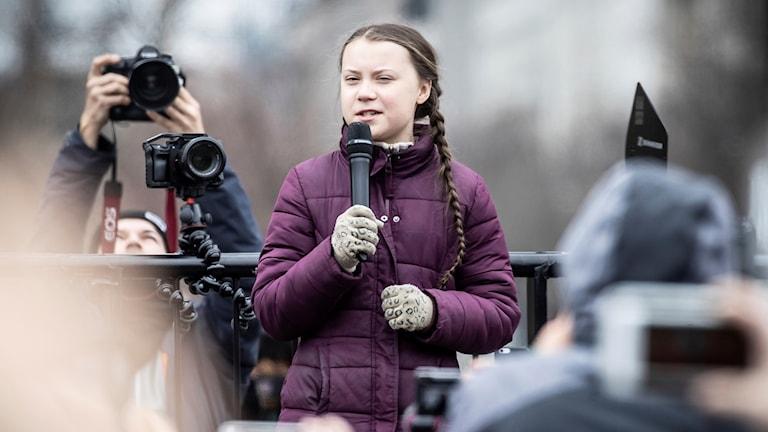 Greta Thunberg talar i Berlin.