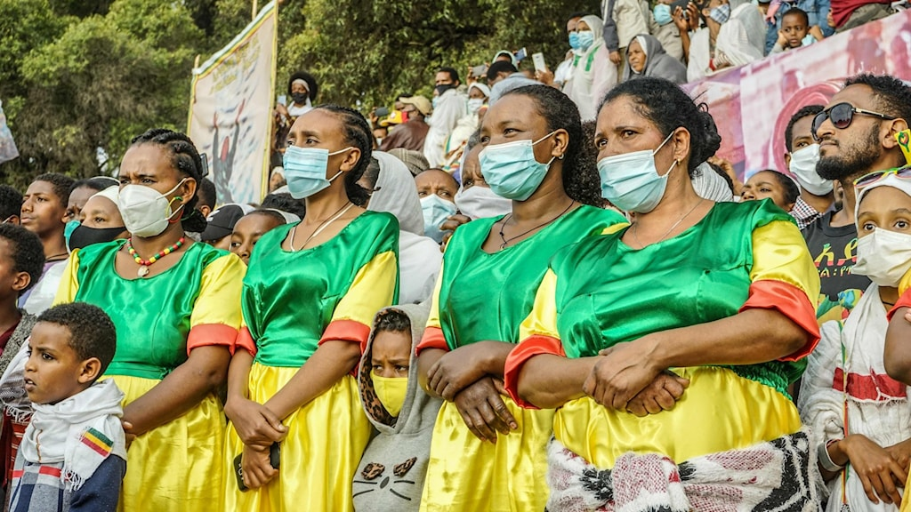 Kvinnor på Meneliktorget i Addis Abeba