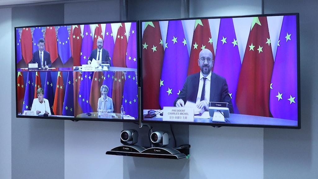 Charles Michel, Ursula von der Leyen, Angela Merkel och Kinas president Xi Jinping under dagens toppmöte.