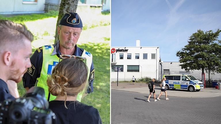 Polisens presstalesman Thomas Fuxborg talar med media (t.v). Hjalmar Brantingsplatsen i Göteborg där 18-åringen högs till döds (t.h).