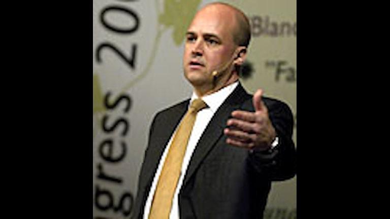 Fredrik Reinfeldt talade om arbete och klimat på TCO:s kongress på tisdagen. Foto:Janerik Henriksson/Scanpix.