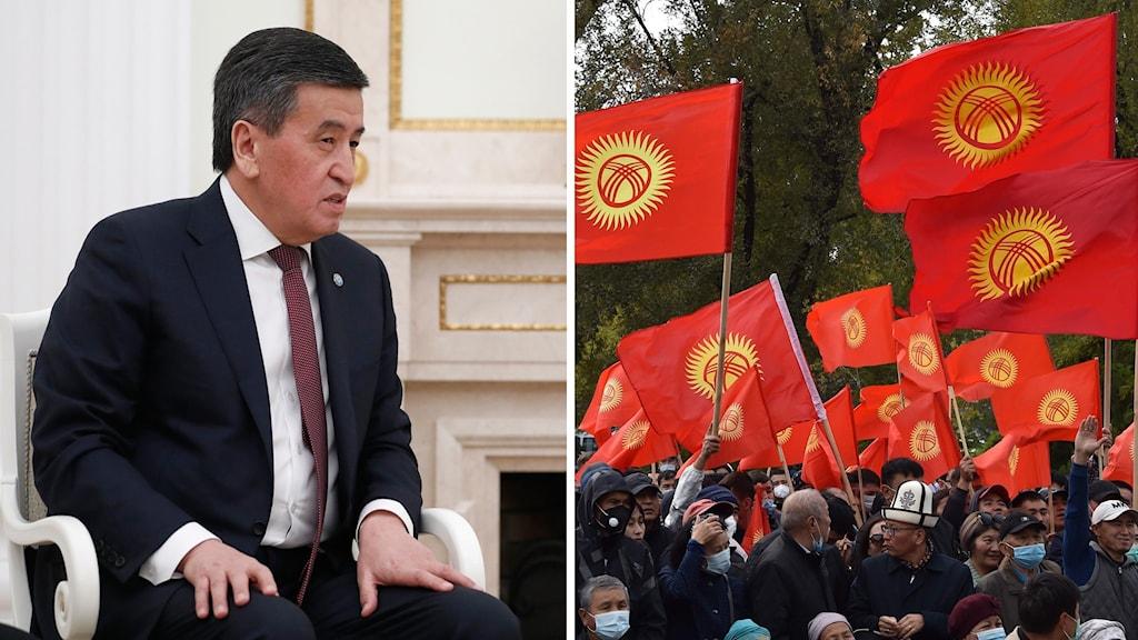En man sitter på en stol och en grupp med flera personer står med flaggor och håller upp flaggor.