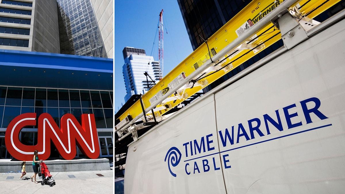 Tvådelad bild: En mamma och dotter går förbi en CNN-logga, och Time Warners logga