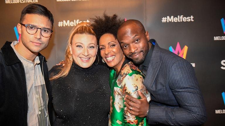 Sarah Dawn Finer, Eric Saade, Kodjo Akolor och Marika Carlsson – det är programledarna för Melodifestivalen 2019.