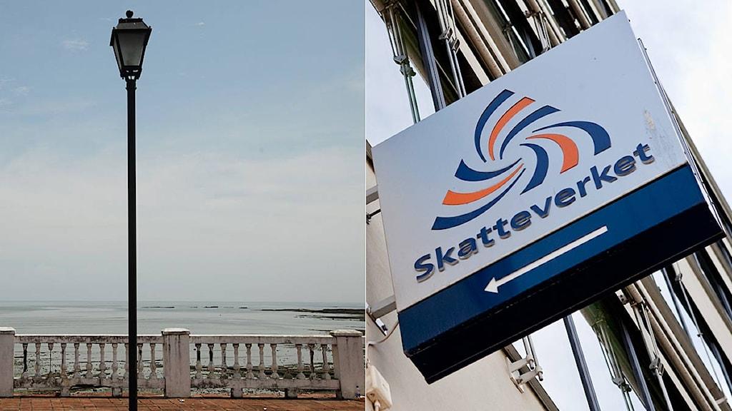 En bild från Panama City monterad tillsammans med bild på Skatteverkets logga. Foto: Scanpix. Montage: Sveriges Radio.