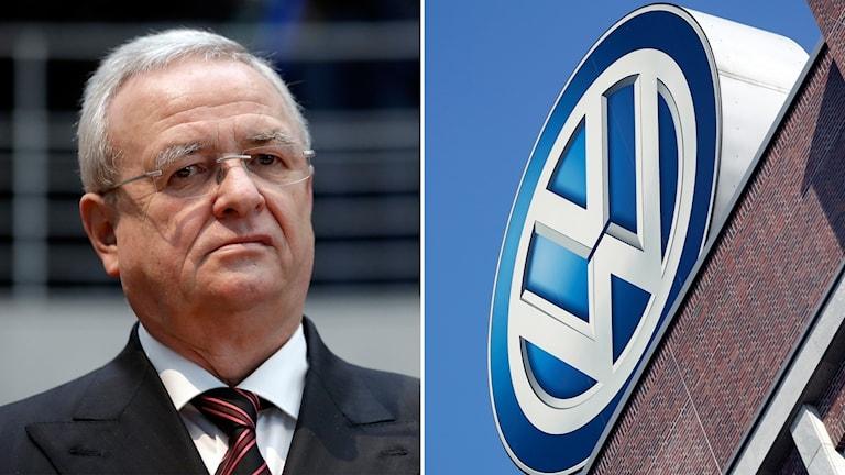 Volkswagens fd vd Winterkorn och företagets logga.