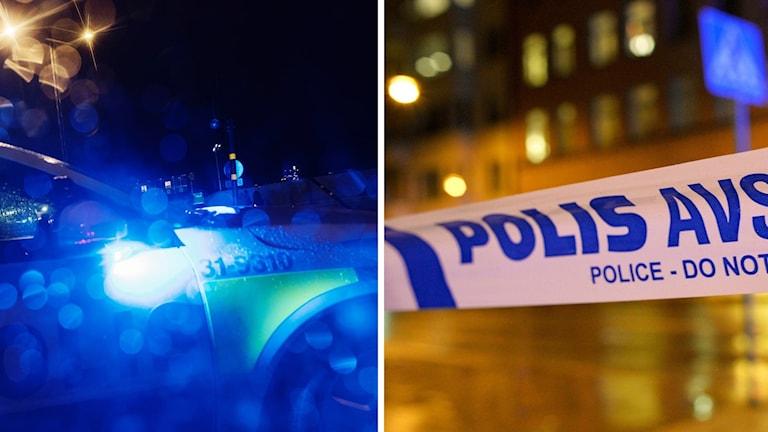 Polisbil och avspärrning.