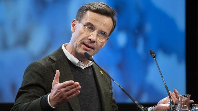 Moderaternas partiledare Ulf Kristersson talar på Folk och Försvar i Sälen.