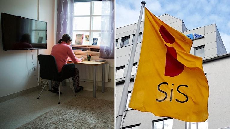 Delad bild: Ung kvinna vid skrivbord, Sis-flagga.