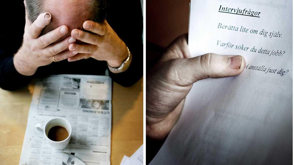 En man sitter lutad över en tidning med jobbannonser och en kaffekopp. En annan man håller i ett papper där har förberett en jobbintervju. Foto: Scanpix. Montage: Sveriges Radio.
