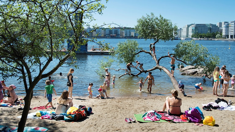 En strand under sommardag.