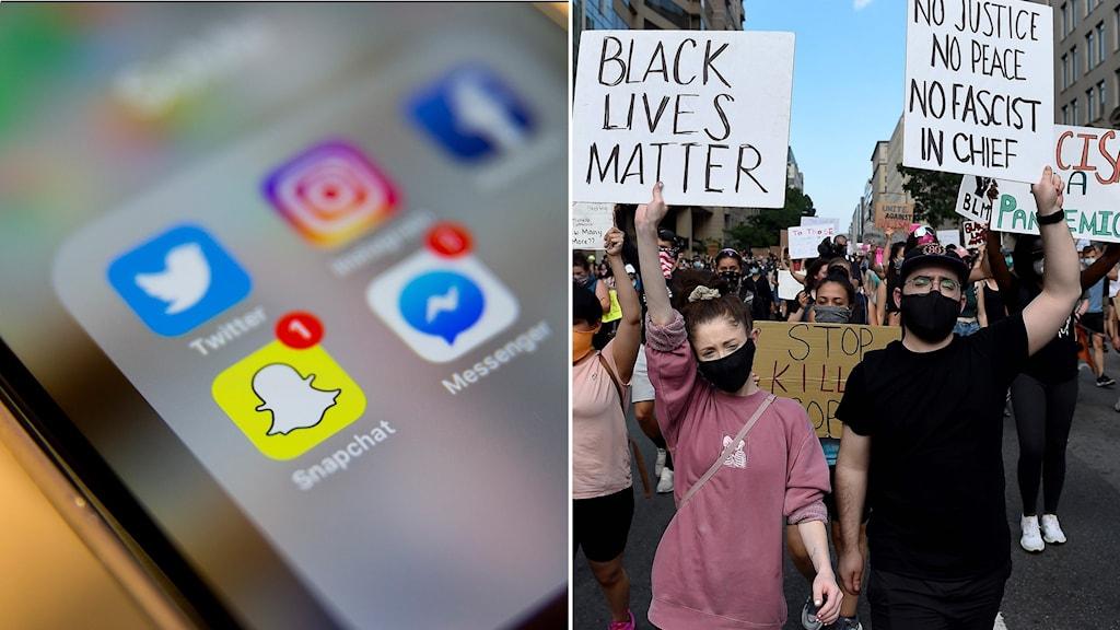 Demonstrant håller i skylt där det står Black lives matter.