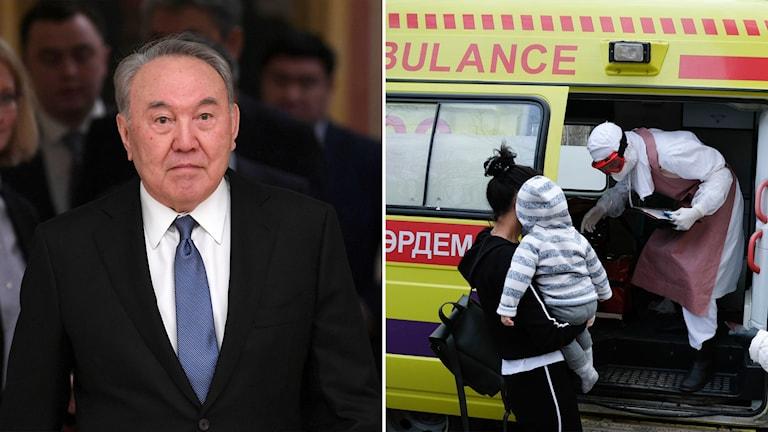 Till vänster: Nursultan Nazerbajev. Till höger: ambulans i Almaty i Kazakstan.