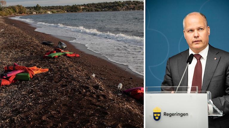 Migration, Morgan Johansson. Foto: Petros Giannakouris/Tove Erikssob/TT. Montage: Sveriges Radio.