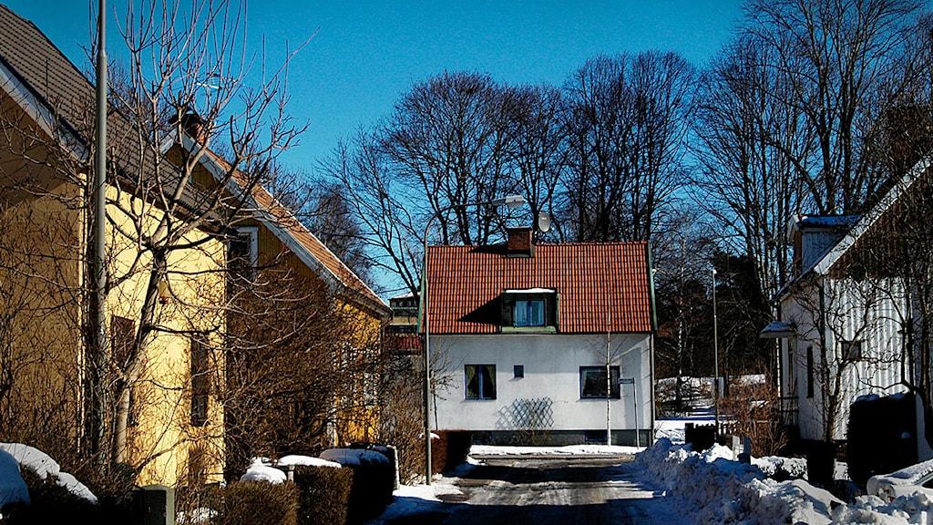 Äldre småhusbebyggelse i Lindeområdet i Johanneshov söder om Stockholm. Foto: Hasse Holmberg.