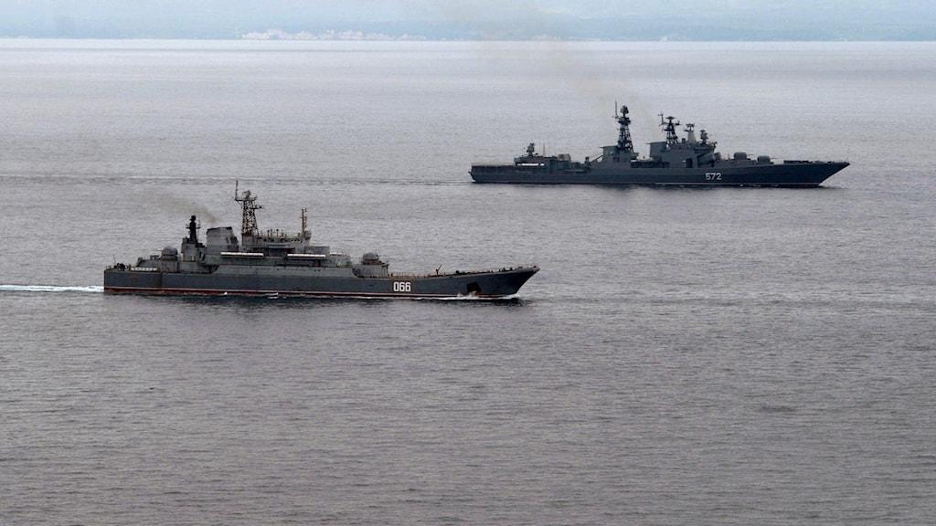 Ryska militärfartyg vid en tidigare övning som genomfördes 2013.