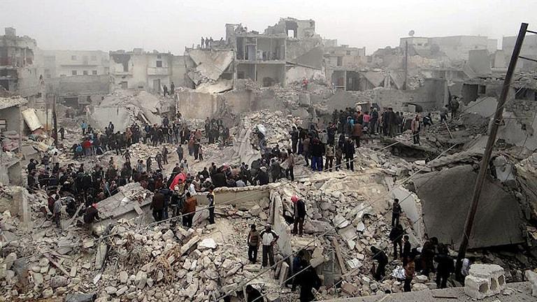 Beskjuten stadsdel i Aleppo häromdagen. Foto: Scanpix.