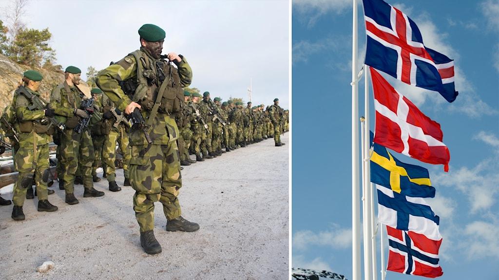 Svenska soldater och de nordiska ländernas flaggor.