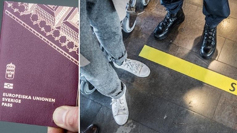 Bildmontage av ett svenskt pass och en stopplinje på Arlandas flygplats.