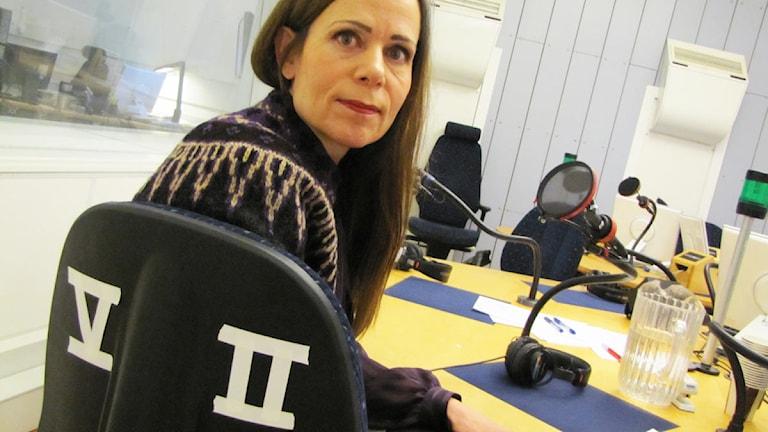 Sara Danius i P1-Morgons studio, Radiohuset Stockholm. Foto: Elin Georgsson/Sveriges Radio